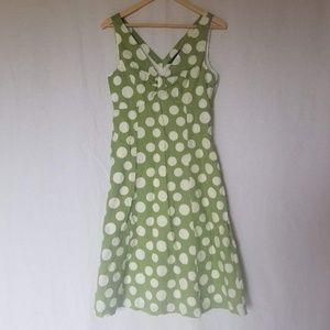 Boden Green White Polka Dot Knot Front Dress 10R